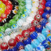 Glass chevron beads, Assorted colors, Smooth round, Approx 12mm, Hole: Approx 1mm, 33pcs per strand, Sold by strands