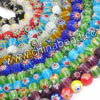 Glass chevron beads, Assorted colors, Faceted round, Approx 6mm, Hole: Approx 1mm, 65pcs per strand, Sold by strands