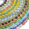 Glass chevron beads, Assorted colors, Smooth oval, Approx 4x6mm, Hole: Approx 1mm, 70pcs per strand, Sold by strands