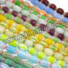 Glass chevron beads, Assorted colors, Smooth oval, Approx 5x7mm, Hole: Approx 1mm, 55pcs per strand, Sold by strands