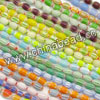 Glass chevron beads, Assorted colors, Smooth oval, Approx 6x8mm, Hole: Approx 1mm, 50pcs per strand, Sold by strands
