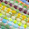 Glass chevron beads, Assorted colors, Smooth oval, Approx 8x12mm, Hole: Approx 1mm, 33pcs per strand, Sold by strands