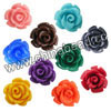 Gemstone Beads, Carved rose flower, Mixed plain colors, Approx 16x9mm, Hole: Approx 1mm, 100pcs per bag, Sold by bags