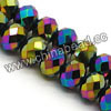 Glass Beads, Hand-cut Crystal, Metallic rainbow plating, Faceted rondelle, Approx 6x8mm, Hole: Approx 1.2mm, 72pcs per strand, Sold by strands