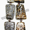 Gemstone Beads, Leopard skin agate, Smooth flat trapezoid, Approx 25x35x6mm, Hole: Approx 2mm, 9pcs per strand, Sold by strands