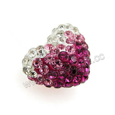 Rhinestone clay pave beads with graduated rose stones, Heart, Approx 16x13x10mm, Half-drilled hole: Approx 1mm, 100pcs per bag, Sold by bags.