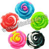 Resin Beads, Rose flower, Mixed glittery two-tone colors, Approx 16x10mm, Hole: no hole, 100pcs per bag, Sold by bags
