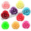 Resin Beads, Rose flower, Mixed colors, Approx 15x8mm, Hole: no hole, 100pcs per bag, Sold by bags