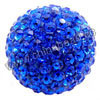 Rhinestone clay pave beads with color #7 sapphire stones, Round, Approx 40mm, Hole: Approx 1mm, 10pcs per bag, Sold by bags