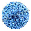 Rhinestone clay pave beads with color #8 light sapphire stones, Round, Approx 40mm, Hole: Approx 1mm, 10pcs per bag, Sold by bags