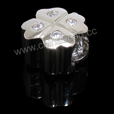Cubic Zirconia Beads, Brass apple in platinum plating with clear CZ stones, Approx 13x10x8mm, Large hole: Approx 5mm, 10pcs per bag, Sold by bags