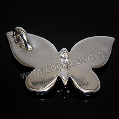 Jewelry findings, Zinc alloy pendant setting in platinum plated, Butterfly, Approx 23x31x3mm, Lead and cadmium free, Hole: Approx 3mm, 20pcs per bag, Sold by bags