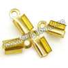 Jewelry findings, Iron cord tip in gold plating, Approx 10x4mm, Lead and cadmium free, Hole: Approx 1.6mm, 2000pcs per bag, Sold by bags