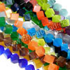 Cat eye glass beads, Assorted colors, Cube, Approx 6x6mm, Corner to corner drilled hole: Approx 0.8mm, 45pcs per strand, Sold by strands
