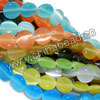 Cat eye glass beads, Assorted colors, Smooth disc, Approx 8x4mm, Hole: Approx 1mm, 50pcs per strand, Sold by strands