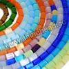 Cat eye glass beads, Assorted colors, Smooth tube, Approx 4x6mm, Hole: Approx 0.8mm, 64pcs per strand, Sold by strands