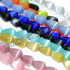 Cat eye glass beads, Assorted colors, Smooth rounded teardrop, Approx 5x8mm, Hole: Approx 0.8mm, 49pcs per strand, Sold by strands