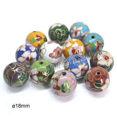 Cloisonne beads, Assorted colors, Floral pattern, Smooth round, Approx 18mm, Hole: Approx 2mm, 100pcs per bag, Sold by bags