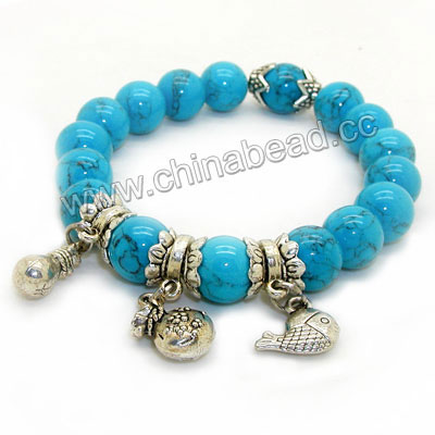 Fashion stretch gemstone bracelets, 10mm smooth round blue turquoise beads with three zinc alloy charm beads in antique silver plating, Blue, Approx 190mm in length, Sold by strands