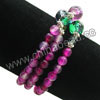 Fashion stretch gemstone bracelets, 6mm smooth round magenta rose banded agate beads, 10mm and 6mm fancy spots glass beads, 5x4mm zinc alloy spacer beads in antique silver plating, Magenta rose, Approx 540mm in length, Sold by strands