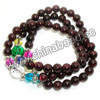 Fashion stretch gemstone bracelets, 6mm smooth round garnet beads, 10mm and 6mm fancy spots glass beads, 5x4mm zinc alloy spacer beads in antique silver plating, Garnet, Approx 540mm in length, Sold by strands