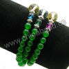 Fashion stretch gemstone bracelets, 6mm smooth round green agate beads, 10mm and 6mm fancy spots glass beads, 5x4mm zinc alloy spacer beads in antique silver plating, Green, Approx 540mm in length, Sold by strands