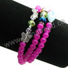 Fashion stretch glass bead bracelets, 6mm smooth round magenta rose glass beads, 6x8mm rondelle and 4x4mm cube and 10x15mm teardrop crystal beads, 11x8x3mm zinc alloy butterfly charm beads in antique silver plating, Magenta rose, Approx 540mm in length, Sold by strands