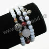 Fashion stretch glass bead bracelets, 6mm smooth round white glass beads, 6x8mm rondelle and 4x4mm cube crystal beads, 12mm round white candy jade bead, 10x11mm round and 18x7mm zinc alloy charm bead in antique silver plating, White, Approx 540mm in length, Sold by strands