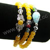 Fashion stretch glass bead bracelets, 6mm smooth round golden glass beads, 4x6mm rondelle and 10x15mm teardrop crystal beads, 11x8x3mm zinc alloy butterfly charm beads in antique silver plating, Golden, Approx 540mm in length, Sold by strands
