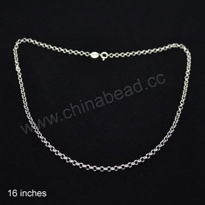 Fashion 925 sterling silver necklace with spring ring clasp, Rolo style, Approx 3mm, Height 0.85mm, 16 inches in length, 5 pieces per bag, Sold by bags