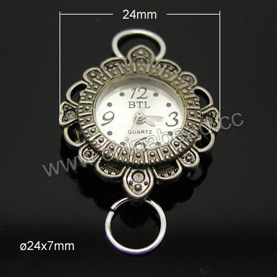 Fashion jewelry watch head, Round zinc alloy quartz watch head in antique bronze plating, Nice component for making watch jewelry, Approx 24x24x7mm, Sold by pieces