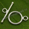 Jewelry findings, 925 sterling silver toggle clasp in silver plating, Circle shape, Approx 12x17mm and 23mm bar, Hole: Approx 2.5mm, 5 sets per bag, Sold by bags