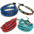 Gemstone Leather Cord Bracelets