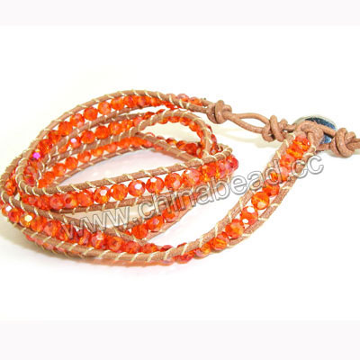 Fashion leather cord glass beaded bracelets, 4mm faceted round crystal beads wrap with 1.5mm light brown leather cord and 4 folded beading thread, 14x11mm brass button clasp in platinum plating, Orange AB, Approx 600mm in length, Adjustable, Sold by strands