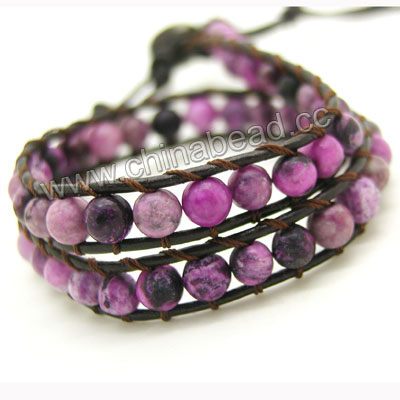 Fashion leather cord gemstone bracelets, 6mm smooth round sugilite jasper stone beads wrap with 1.5mm dark brown leather cord and 4 folded beading thread, 14x11mm brass button clasp in platinum plating, Purple, Approx 420mm in length, Adjustable, Sold by strands