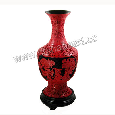 Cinnabar vase, Red and black, Carved peony flower pattern, Approx 180x370mm, Sold by pieces