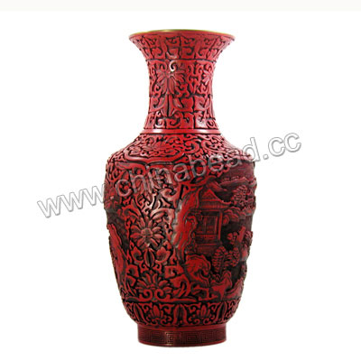 Cinnabar vase, Antique red and black, Carved landscape pattern, Approx 180x370mm, Sold by pieces
