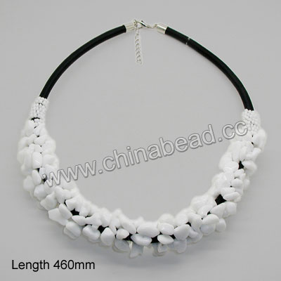 Fashion gemstone necklace, 5x8mm white glass chips and 1x2mm white glass seed beads, 12x7x3mm brass lobster claw clasp with extender chain in platinum plating, Approx 460mm in length, Sold by strands