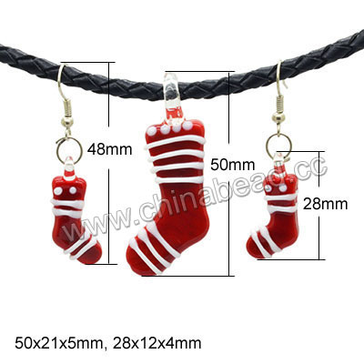 Fashion jewelry sets, Handmade lampworked glass pendant & earrings, 50x21x5mm & 28x12x4mm Christmas stockings, Hole: approx 7mm and 1mm, Earrings length approx 48mm with silver plated metal hook earwires, 5 sets per bag, Sold by bags