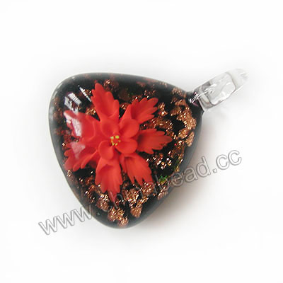 Fashion Pendants, Handmade lampworked glass pendant, Clear and black with red flower, Copper-colored glitter, Flat triangle, Approx 39x31x14mm, Hole:Approx 10mm, Sold by PCS