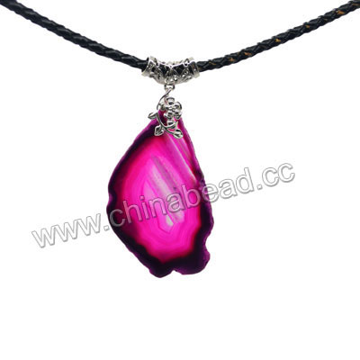 Fashion jewelry pendants, Magenta agate slice with brass metal part in platinum or gold plating, Irregular slice with nice natural pattern, Approx 59x56x5mm, Hole: Approx 1.5mm, 10 pieces per bag, Sold by bags