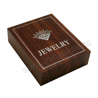 Wooden pendant gift box, Dark brown, Rectangle, Approx 95x75x25mm, 20 pieces per bag, Sold by bags