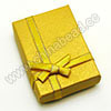 Cardboard pendant gift boxes, Gold color with yellow bow tie, Rectangle, Approx 73x52x22mm, 24 pieces per bag, Sold by bags