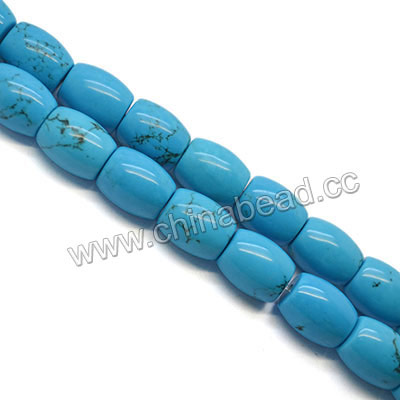 Gemstone beads, Natural Sinkiang turquoise, Blue with natrual veins, Smooth barrel, Approx 18x13mm, Hole: Approx 2mm, 22 pieces per strand, Sold by strands
