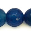 Gemstone beads, Blue agate, Faceted round, Approx 10mm, Hole: Approx 1mm, 39pieces per strand, Sold by strands