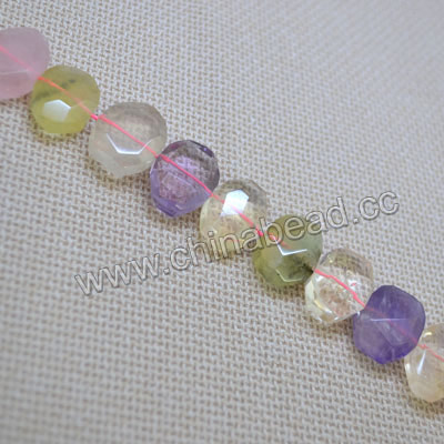 Gemstone beads, Mulit-colored quartz, Faceted nuggets, Approx 15x20x7mm, Hole: Approx 2mm, 27 pieces per strand, Sold by strands