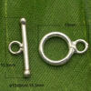 Jewelry findings, 925 sterling silver toggle clasp in silver plating, Circle shape, Approx 13x9mm and 15.5mm bar, Hole: Approx 2.5mm, 5 sets per bag, Sold by bags