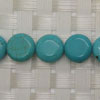 Gemstone Beads, Magnesite, Turquoise blue, Smooth puffy disc, Approx 10x5mm, Hole: Approx 1mm, 40 pieces per strand, Sold by strands