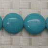 Gemstone Beads, Magnesite, Turquoise blue, Smooth puffy disc, Approx 16x6mm, Hole: Approx 1mm, 26 pieces per strand, Sold by strands