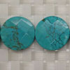 Gemstone Beads, Magnesite, Turquoise blue, Faceted disc, Approx 20x6mm, Hole: Approx 1mm, 19 pieces per strand, Sold by strands